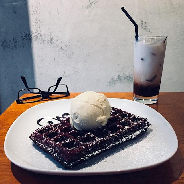 Red velvet waffle ($6.90): Crispy on the outside, soft on the inside.