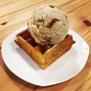 Speculoos Ice-Cream on Mini Buttermilk Waffle with Maple Syrup @ Ice-Cream Man And Friends, 399 Yung Sheng Road.