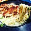 Grilled Chicken with Cream Pasta.