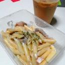 Penne Carbonara($5.50) & Ice Hazelnut Latte($4.50)