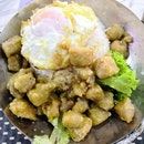 Salted Egg Yolk Pork Rice ($4.50) add Egg($0.50)