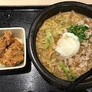 Red Miso Pork Shabu Nabeyaki Udon with Fried Chicken ($16.90++)