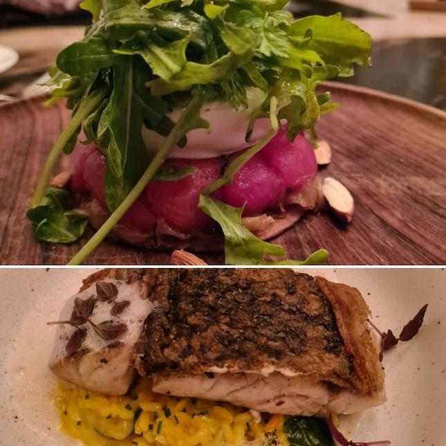 Burrata and Beetroot + Barramundi and Saffron Risotto