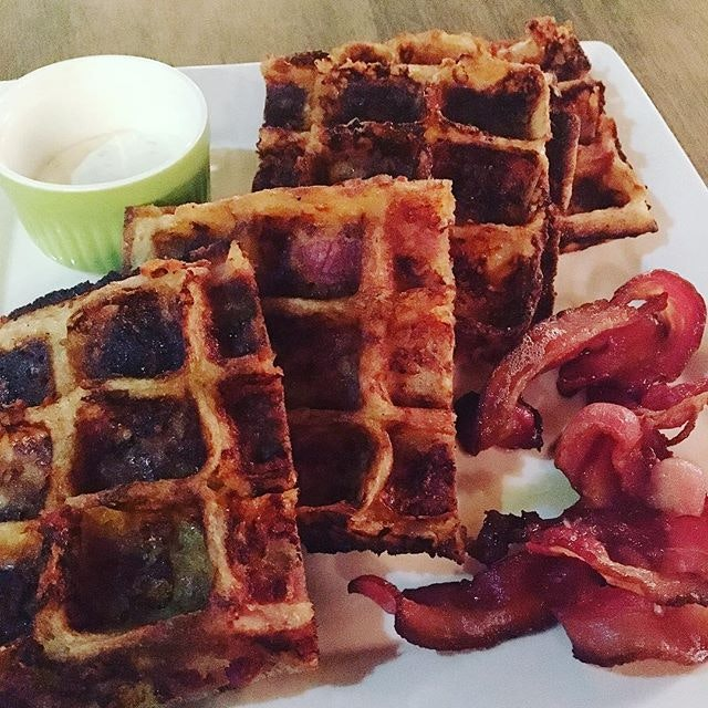 The saltiness of Nassim Hill Bakery Bistro Bar's Cheddar Cheese Bacon Waffles is a nice counter to all the sweetness I've been having lately.