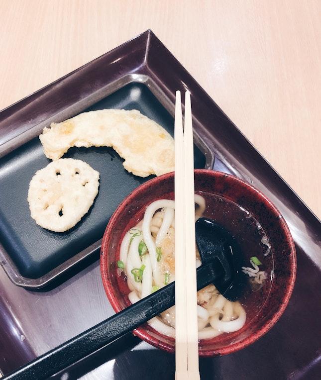 Mini udon, pumpkin tempura, lotus root tempura [$5.80]