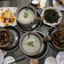 Frog Leg Porridge (5 for $22, 7 for $30), Oyster Omelette ($6), Sambal Kang Kong ($5.50)