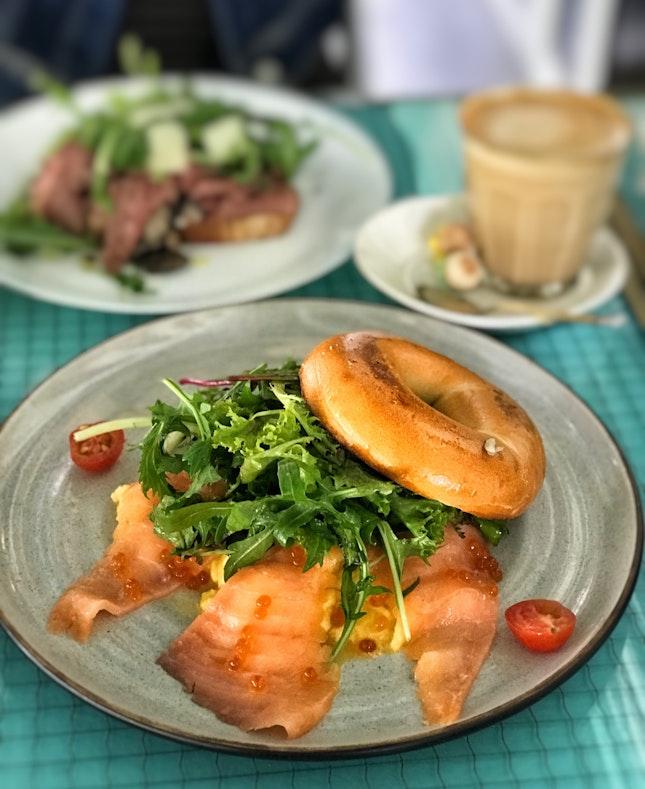 Smoked Salmon & Scrambled Bagel + Latte ($11.90 Fave)