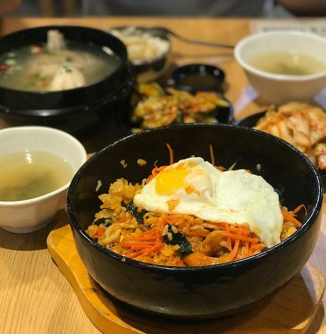 Claypot Bibimbap ($7), Ginseng Chicken (Half $9.50) + Rice ($1)