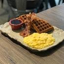 Breakfast Waffle ($9.50) + Scrambled Eggs ($1.50)