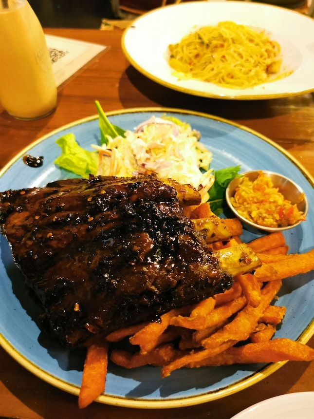 Sweet Soy Pork Ribs and Spicy Crabmeat Cappelini