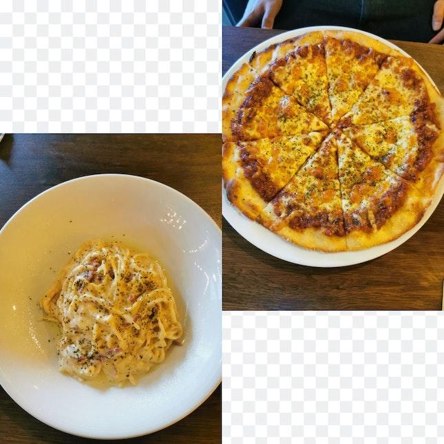 truffles carbonara and triple cheese pizza