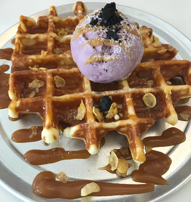Waffle with Lavender White Chocolate Ice Cream ($9)
