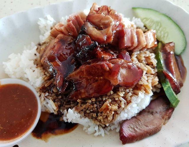 Roast pork and char siew rice - $4!