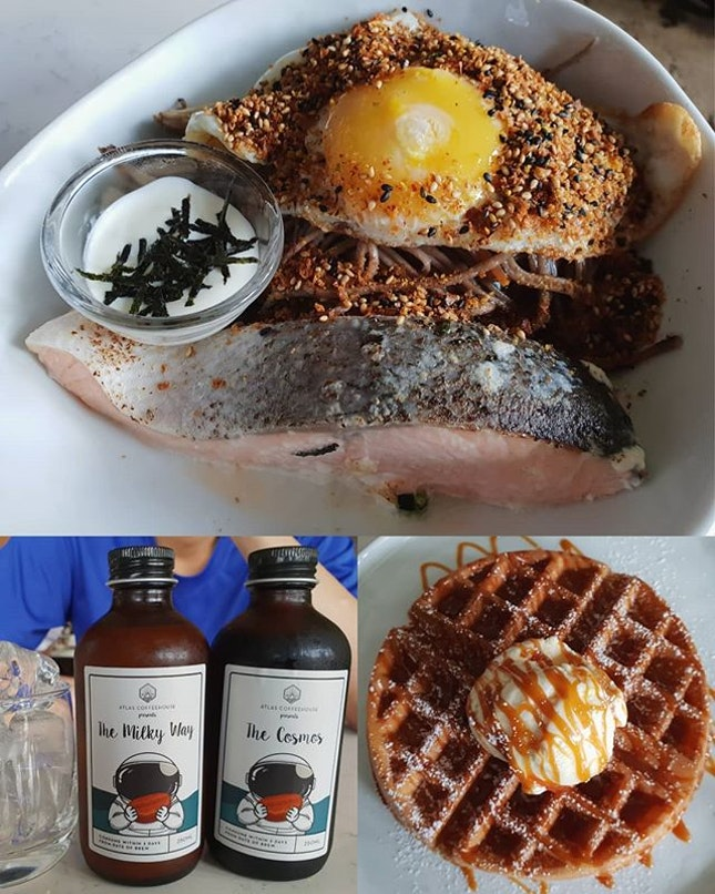 Salmon soba noodles ($18+); Salted caramel buttermilk waffles ($12.50+); Milky way ($7+); Cosmos ($7+)!