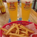HH Kronenbourg Blanc (full pint: $12++ each) & Fries ($3.90++) 🍟🍻😋 .