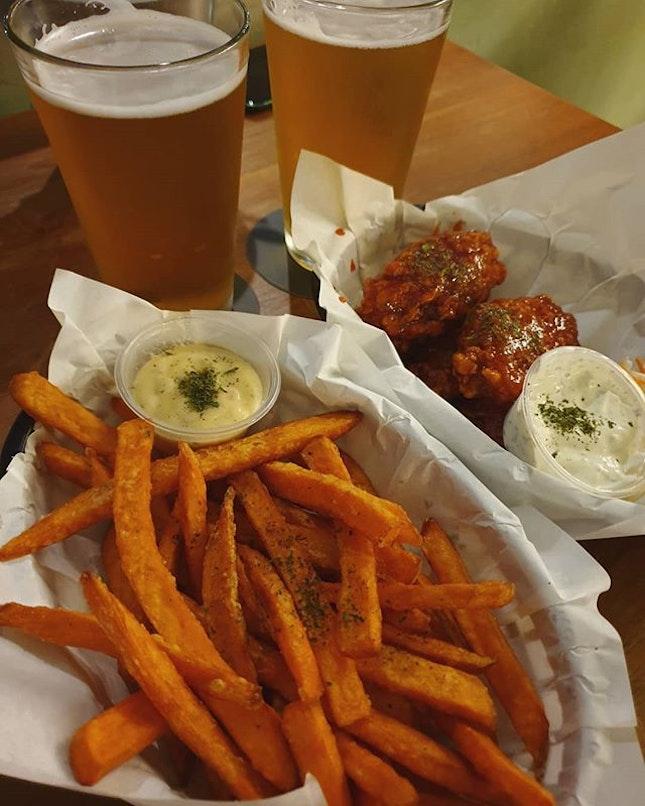 Korean fried wings; Sweet potato fries; Beers (burpple beyond - $37.44) 😍😋👍🏼 .