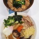 Black garlic tonkotsu ramen ($11.80) & Tonjiru onsen udon ($10.20)!