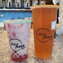 Watermelon latte with watermelon pearl ($5.70) & Brown rice sencha ($3.60)!