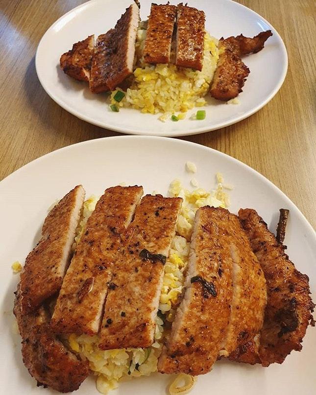 Egg fried rice + pork cutlet ($6.50 each)!