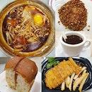 Claypot e-fu noodle ($5.50+); Kaya bun ($1.30+); Hainanese pork chop ($10+); Kopi ($1.40+); Hainanese muah chee ($1+)!