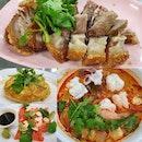 Crispy roast pork, Shrimp omelette, Salmon, Tom yum!
