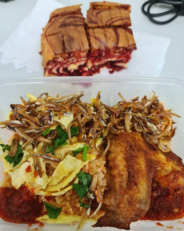 Home cooked nasi goreng with ikan bilis and chicken wing ($3.50) + complimentary home made cake!