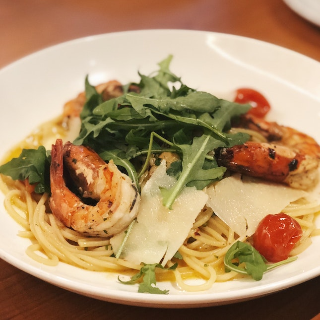 Garlic & Chili Prawn Spaghetti (RM36)
