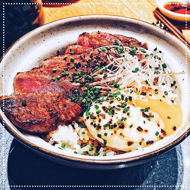 [Fat Cow] Fat Cow Donburi (includes a salad, chawanmushi, miso soup and dessert), S$48.