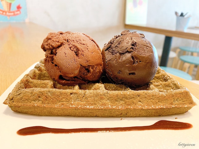 Sesame Waffle + 2 Scoops ($11)
