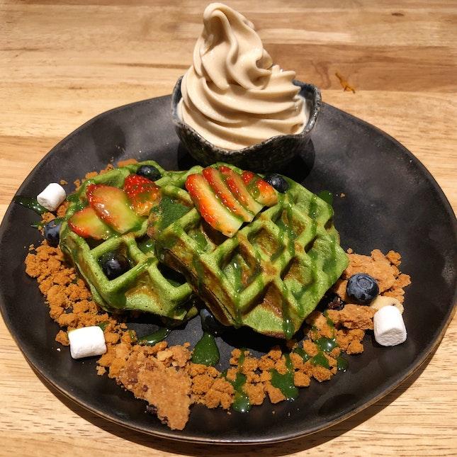 Matcha Mochi Waffles ($12.50)