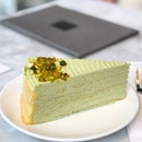 [Pistachio Mille Crepe-$9.50]  My most recent venture into the atas cake place had me trying this pretty seasonal special- a cake in a pretty shade of light green and adorned with pistachio crumbs.