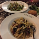 Penne Aglio Olio With Olives And Sundried Tomatoes