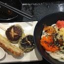 Triple Egg Udon With Shitake Mushroom and Crab stock Tempura