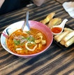 Tom yum Noodle ($6.50), Spring Roll And Fried Wanton With Pork