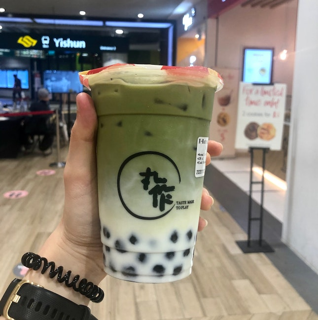 Matcha Latte With Black Sesame Pearls ($5.40)