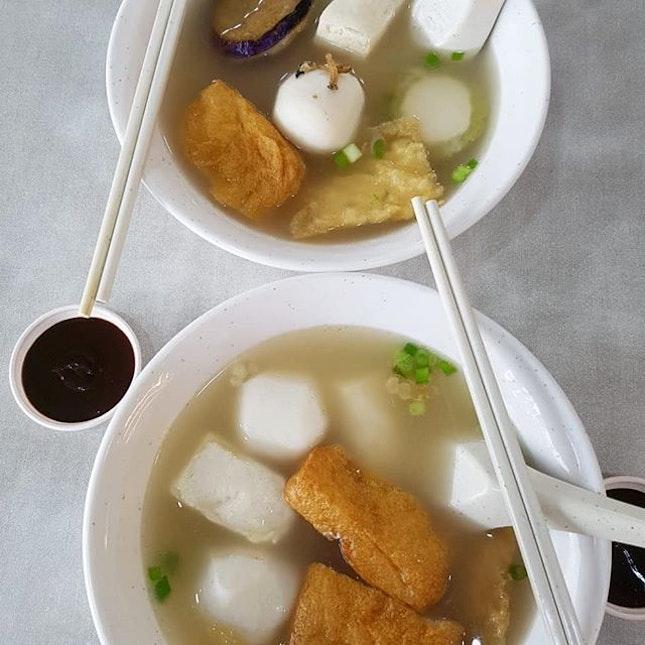 Yong Tau Foo with Ikan Bilis as the soup base~ Inexpensive comfort food~ .