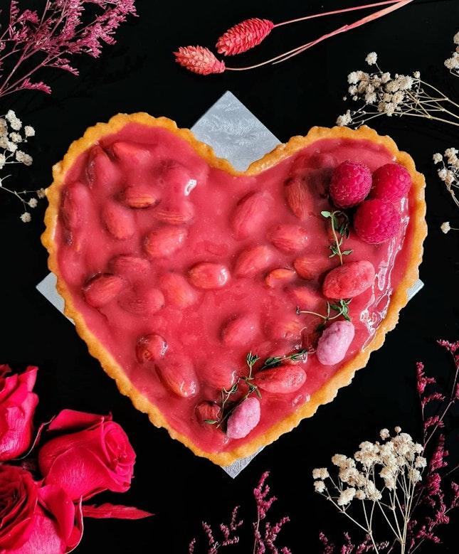 Heart Shaped Cherry Berry Praline Tart