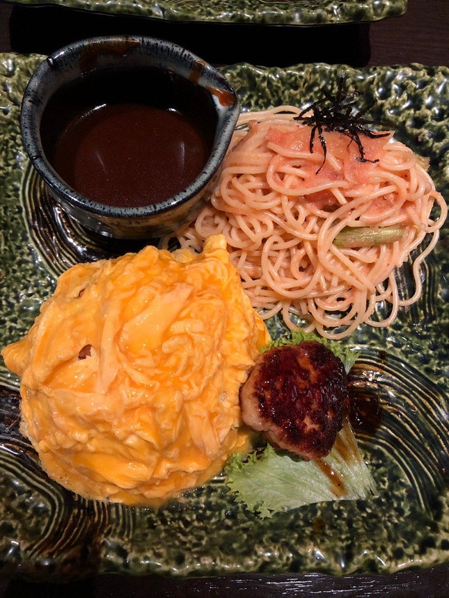 Omurice Combo With Mentaiko Spaghetti