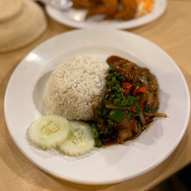 Stir Fried Hot Basil Leaves With Rice (RM10)