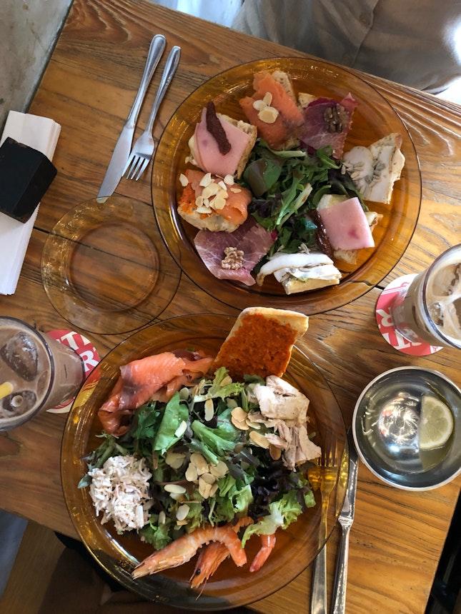 My Awesome Sandwich ($16), Seafood Salad ($21)