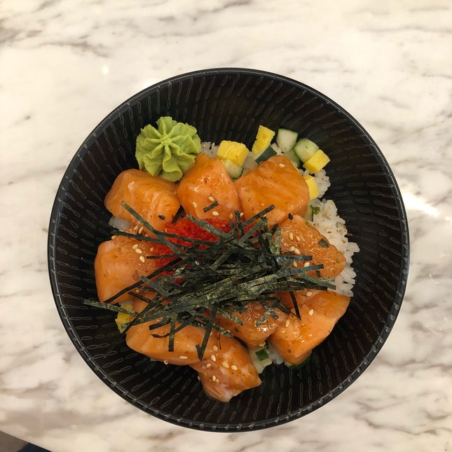 Salmon Sashimi Bowl ($14++)