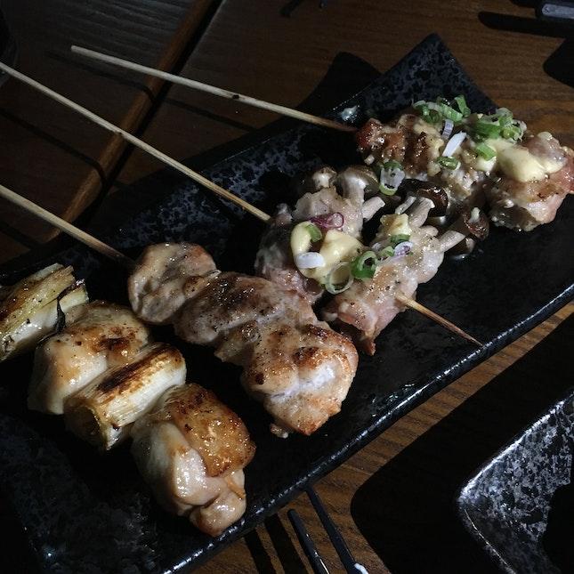 Enoki Bacon($2.50), Shimeiji Bacon($2.50), Thigh w Leek($1.50), Thigh($1.50)