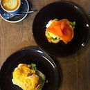 Eggs Benedict - Salted Egg Yolk Prawn And Salmon