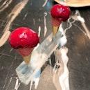Sangria sorbet, mini vanilla cone