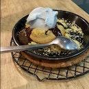 Chocolate cookie lava with Blue Pea Hokkaido milk ice cream
