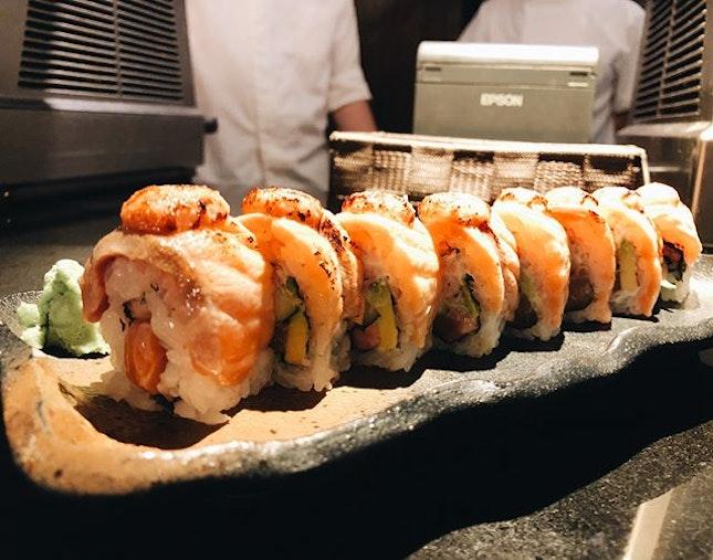 aburi salmon roll $17 & chirashi don regular $27.........