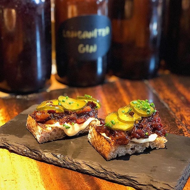 [Outram Park] A sweet and sticky jam-like mixture, slathered over crusty sourdough toast—the Beef Marmalade and Pickles ($14) packed a whole lot of intense meaty flavours into a small bite.