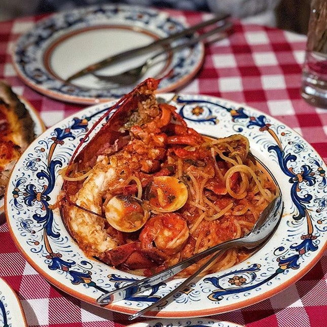 [Orchard] Their Spaghetti Cioppino ($46) was more of a sauce than a stew, but it's a decent one.