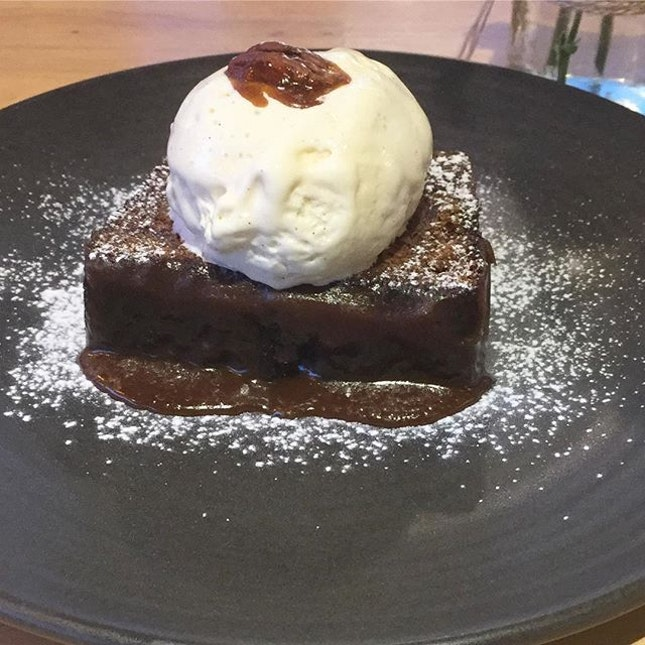 Sticky date pudding with vanilla ice cream- never actually eaten anything with this name before but boy this is sooooo good.