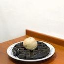😋 Charcoal Mochi Wafffle with Houjicha Gelato ($6.70+$3.80) — The story has always been..